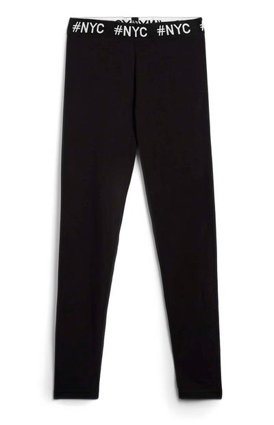 "Schwarze ""NYC"" Leggings (Teeny Girls)"