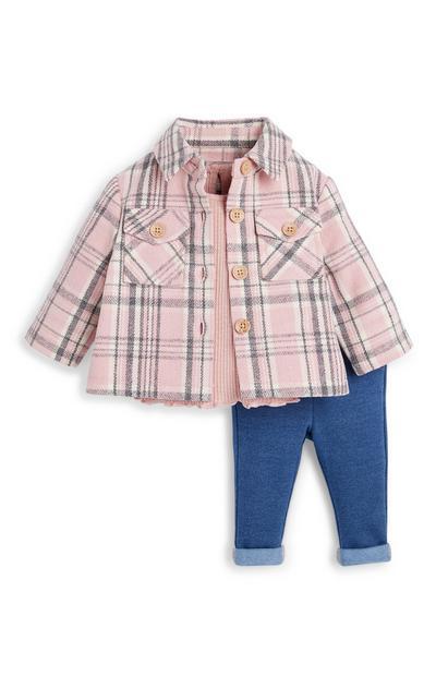 Conjunto casaco-camisa xadrez/jeggings menina bebé