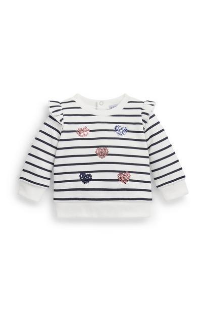 Gestreepte sweater met ronde hals en pailletten voor baby's, meisjes