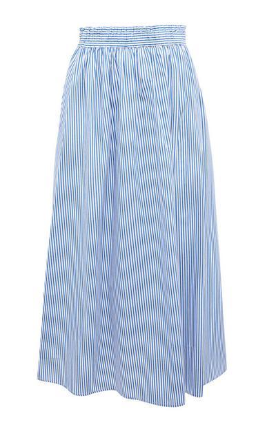 Blue Stripe Poplin Midi Skirt