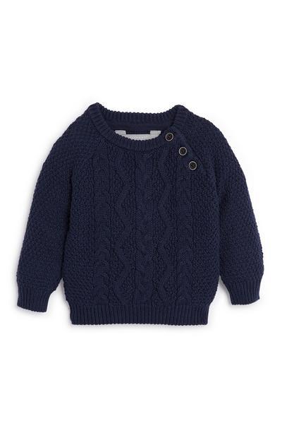 Baby Boy Navy Cotton Crew Neck Sweater