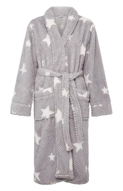 Grey Star Pattern Long Hanging Robe