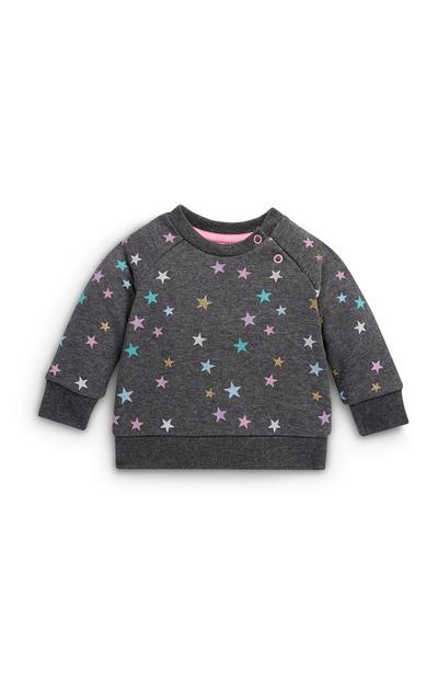 Baby Girl Crew Neck Stars Sweatshirt
