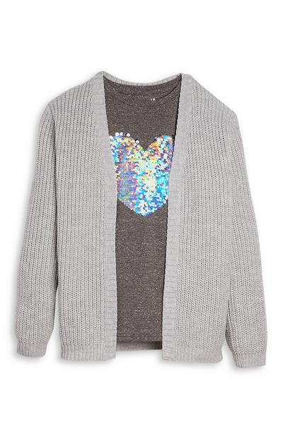Grauer Cardigan mit T-Shirt (Teeny Girls)