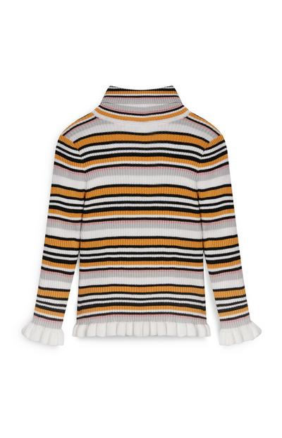 Younger Girl Stripe Roll Neck Sweater