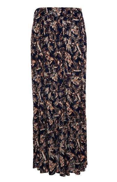 Falda larga negra fruncida de punto con estampado de hojas