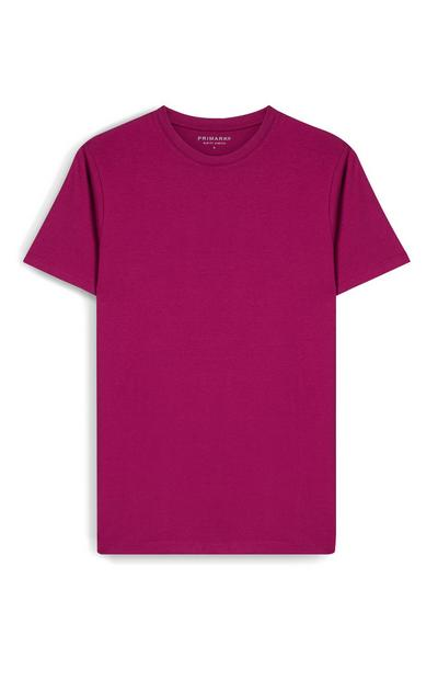 T-shirt rosa scuro slim fit a maniche corte