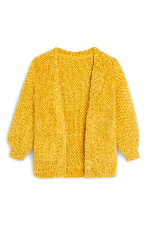 Younger Girl Yellow Fluffy Cardigan