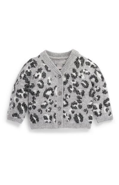Cardigan gris à imprimé léopard bébé fille