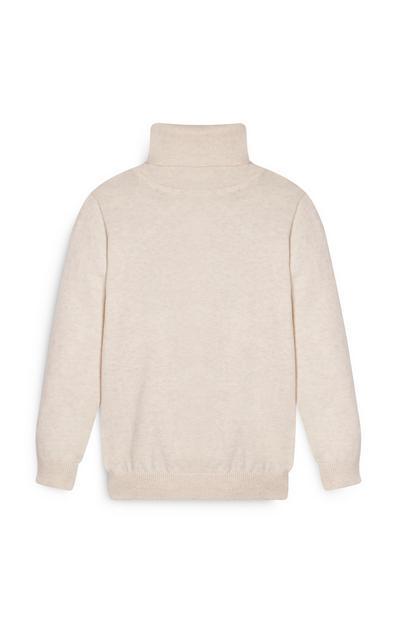 Jersey orgánico de cuello vuelto color crema