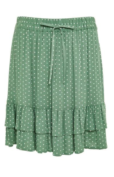 Green Pattern Tie Waist Crinkle Mini Skirt
