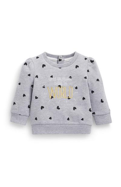 Baby Girl Heart Print Crew Neck Sweatshirt