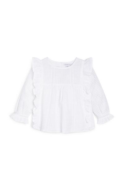 Blusa blanca apanalada para niña pequeña