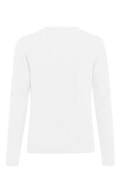 White Classic Cable Sweater