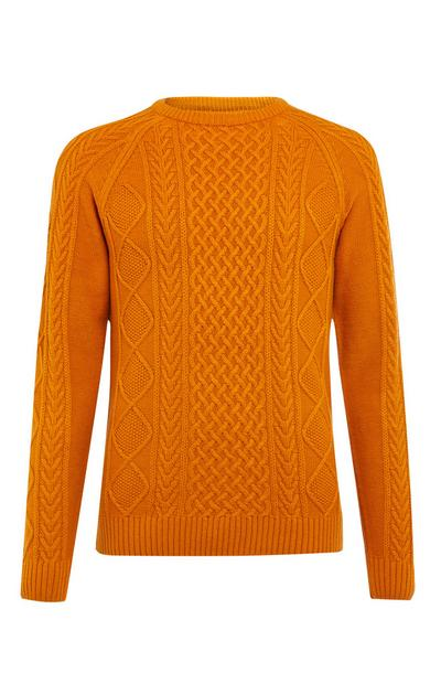 Orange Classic Cable Sweater