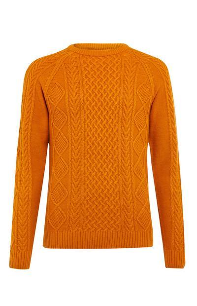 Orangefarbener, klassischer Pullover mit Zopfmuster