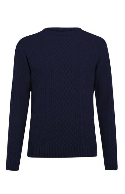 Navy Classic Cable Sweater