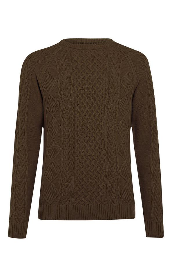 Dark Green Classic Cable Sweater