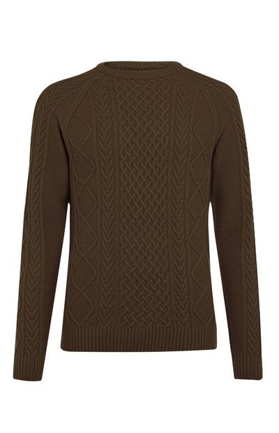 Olive Classic Cable Sweater