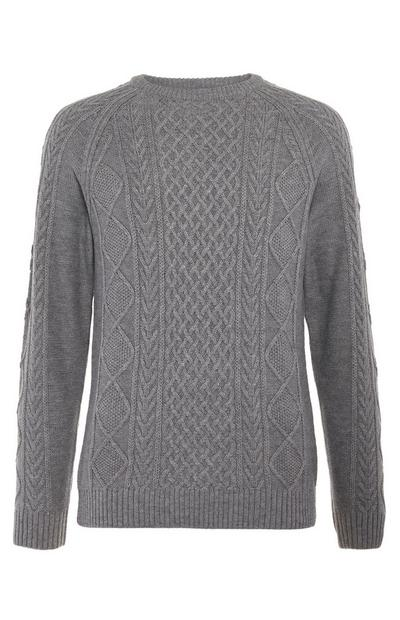 Dark Grey Classic Cable Knit Jumper