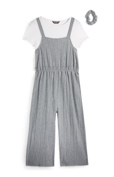 Older Girl Gray 2-in-1 Jumpsuit