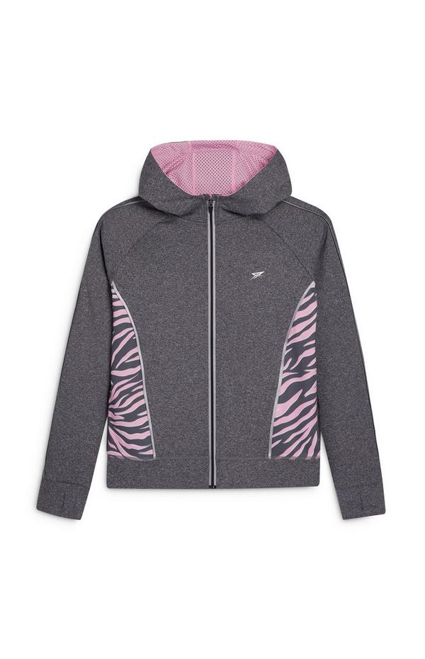 Older Girl Active Gray and Pink Zip Up Hoodie