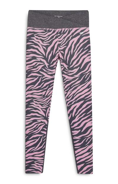Older Girl Active Grey and Pink Animal Print Leggings