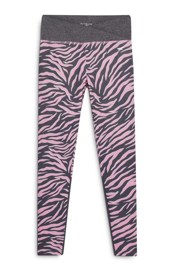 Older Girl Active Gray and Pink Animal Print Leggings