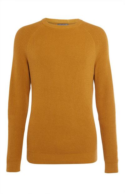 Mustard Texture Ribbed Crew Neck Sweater