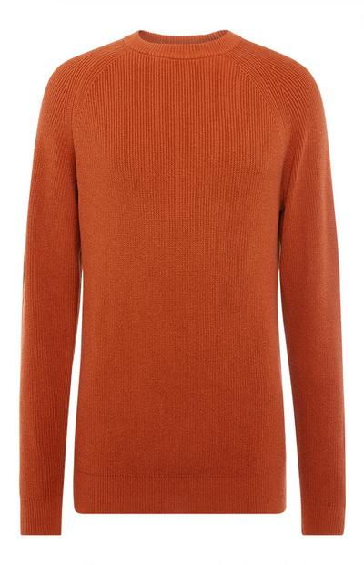 Orange Textured Crew Neck Sweater