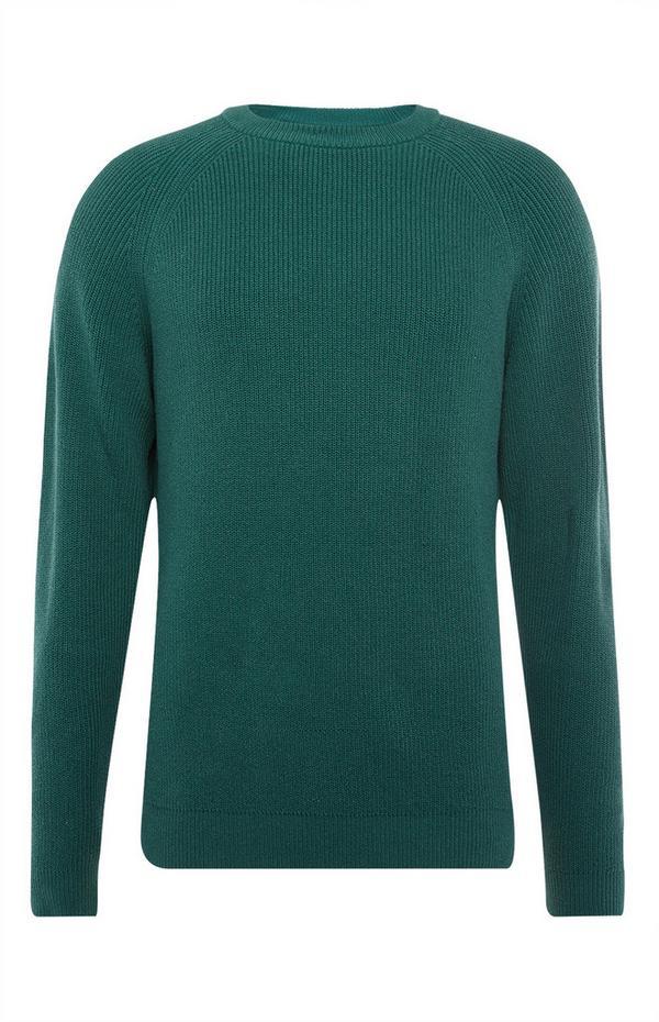 Green Texture Rib Crew Neck Sweater