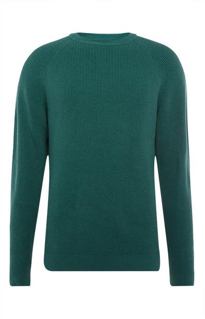 Green Texture Rib Crew Neck Sweater