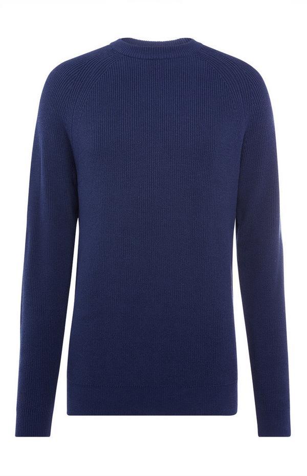 Navy Texture Rib Crew Neck Sweater