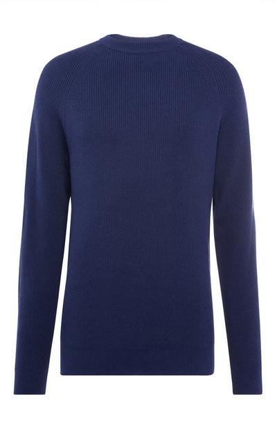 Navy Textured Crew Neck Sweater