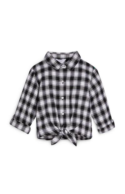 Camisa de cuadros blanca y negra para niña pequeña