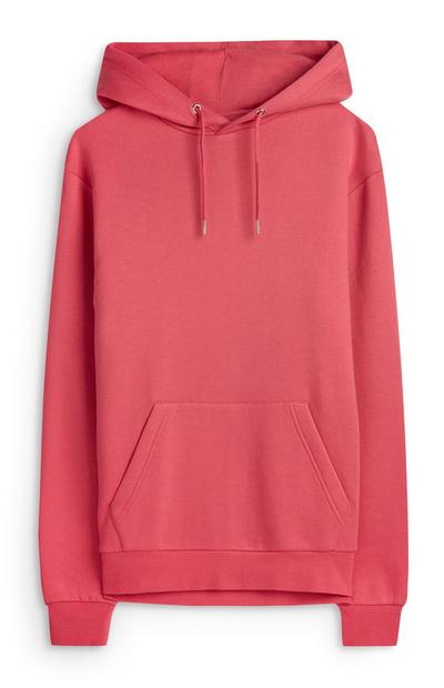 Sweat à capuche rose à poche
