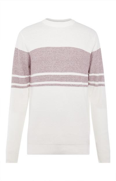 White Texture Stripe Sweater