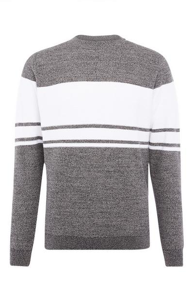 Gray Textured Stripe Sweater