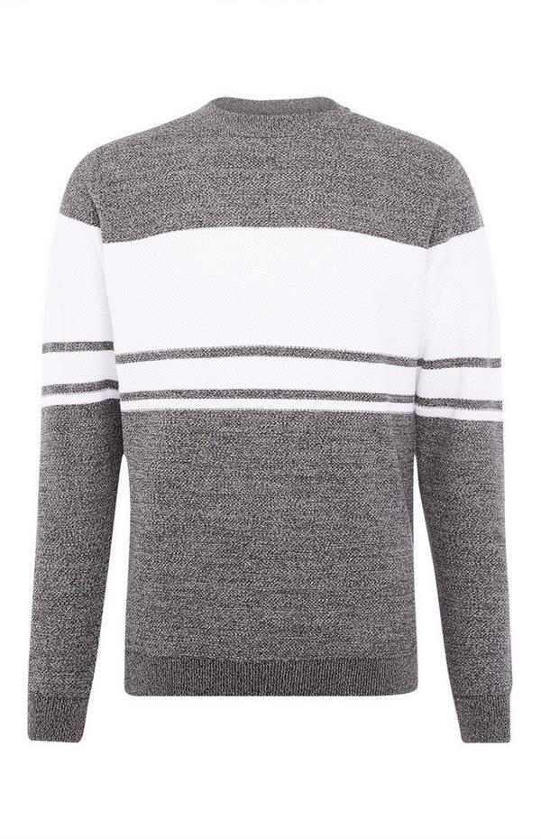 Pull gris chiné texturé à rayures
