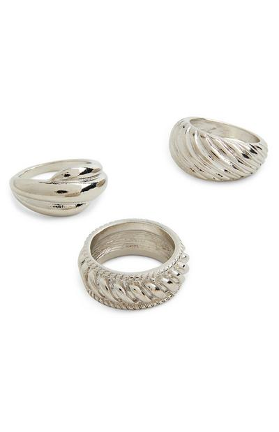 3-Pack Chunky Silver Textured Rings