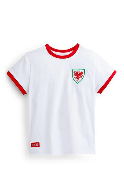 Younger Boy White Wales Football T-Shirt