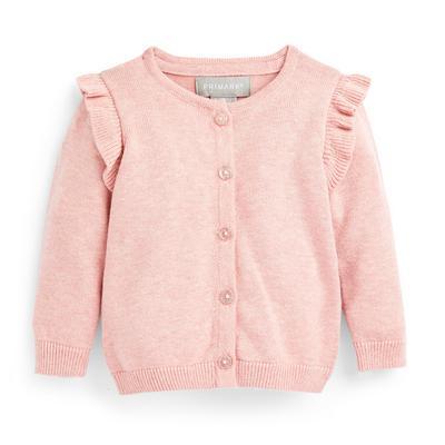 Cardigan menina bebé rosa-pálido