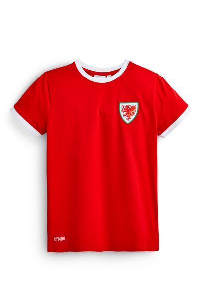 Older Boy Red Wales Football T-Shirt