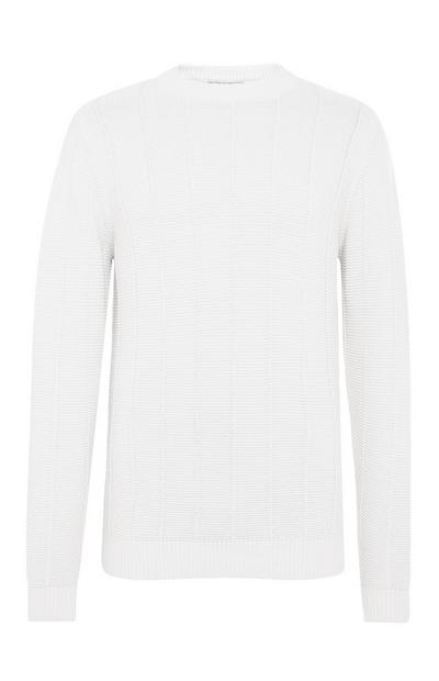 White Ladder Stitch Crew Neck Sweater