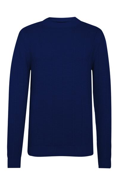 Navy Ladder Stitch Crew Neck Sweater