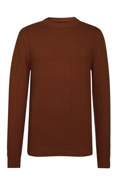 Brown Ladder Stitch Crew Neck Sweater