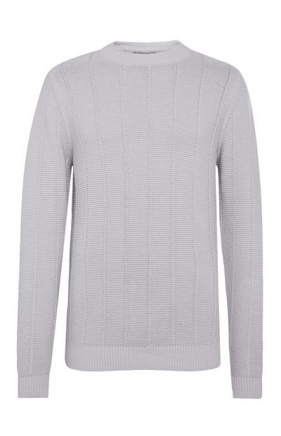 Light Grey Ladder Stitch Crew Neck Sweater