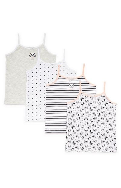 Girls Monochrome Panda Camisole Vests 4 Pack
