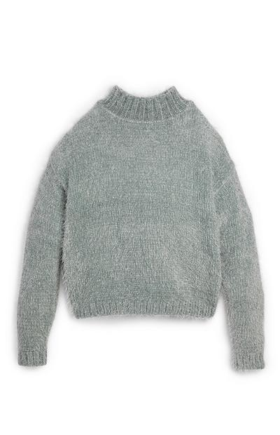 Older Girl Gray Fluffy Mock Neck Sweater