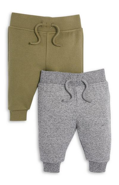 2-Pack Baby Boy Gray and Olive Joggers